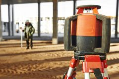 Laser levelling equipment at construction site Royalty Free Stock Photos