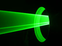 Laser light. Green rays of the laser light Royalty Free Stock Photo