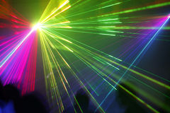 Laser light. Colored laser lights in the disco Stock Photo