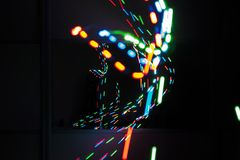 Laser light.Light painting royalty free stock images