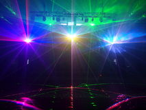 Laser light in the old power station. Royalty Free Stock Image
