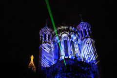 Laser light over Lyon stock image