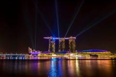 Laser lights on Marina Bay Sands Royalty Free Stock Image