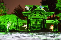 Laser lights at the temple. Caught a beautiful laser light show at a beautiful temple in Kyoto Stock Image