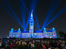 Laser lightshow on the parliament centre block called Northern L Stock Photography