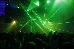 Laser-ljus på diskot Arkivfoto