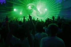 Laser-ljus på diskot Arkivbilder