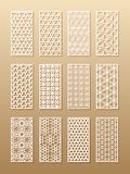 12 laser-modeller för rumväggar i den arabiska stilen Traditionell orientalisk prydnad i en rektangel för designen av a stock illustrationer