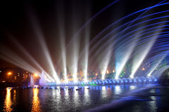 Laser music fountain night Royalty Free Stock Photos