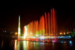 Laser music fountain night Stock Photo