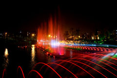 Laser music fountain night Stock Images
