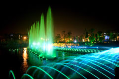 Laser music fountain night Stock Image