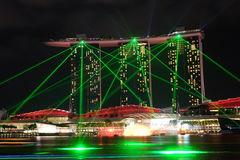 Laser night show at Singapore Marina Bay Stock Images