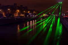 Laser over Senne river in Brussels, Belgium Royalty Free Stock Images