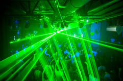 Laser party. Excelent green laser party at the club Stock Images