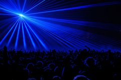 Laser party. Excelent green laser party at the club with party people Royalty Free Stock Photography