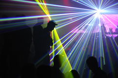 Laser party. Excelent laser party at the club Royalty Free Stock Image