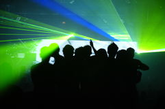 Laser party. Excelent laser party at the club Royalty Free Stock Photography