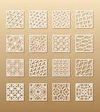 12 laser patterns for room walls in the Arabic style. Traditional oriental ornament in a rectangle for the design of a. Screen, privacy panels, a fence. Laser royalty free illustration