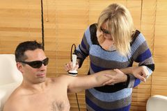 Laser physiotherapy Stock Images