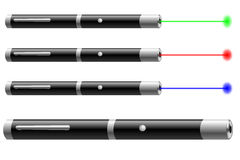 Laser pointer. Vector illustration of laser pointers with different colors Stock Image