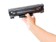Laser printer cartridge. In hand royalty free stock photo