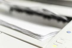 Laser Printer Printing Documents. Office machine royalty free stock photography