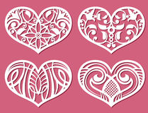 Laser printing romantic lacy wedding hearts with carved pattern vector set. Laser printing romantic lacy wedding hearts with carved pattern vector. Set of paper Royalty Free Stock Photos