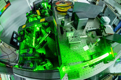 Laser in a quantum optics lab. Stock Photo