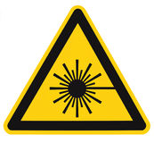 Laser radiation hazard safety danger warning text sign sticker label, high power beam icon signage, isolated black triangle Stock Images