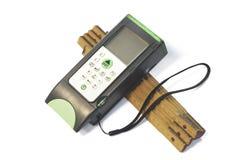 Laser-Reichweitenmeßinstrument mit hölzernem Messinstrumentmaß lizenzfreie stockbilder