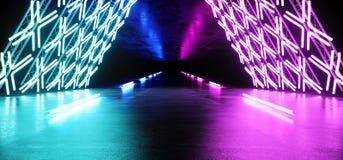 Laser rougeoyant au néon en métal de Sci fi Asphalt Futuristic Track Path Stage de construction de structure de tunnel de cercle  illustration libre de droits