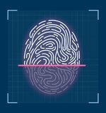 Laser scanning of fingerprint. Futuristic. Interface design. Vector modern style illustration icon. Digital biometric security technology Royalty Free Stock Photos