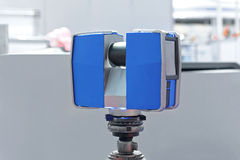 Laser Scanning. Portable 3d Laser Scanner at Tripod royalty free stock photography
