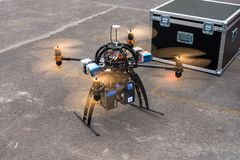 Laser scanning quadrocopter Royalty Free Stock Images