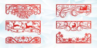 Laser scherp ontwerp voor Kerstmis en Nieuwjaar Silhouetbesnoeiing Een reeks van malplaatje van hoek en horizontale elementen aan vector illustratie