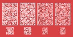 Laser schnitt Vektorplatte und das nahtlose Muster für dekorative Platte stock abbildung