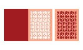 Laser-Schnitthochzeitseinladungs-Kartenschablone Gestempelschnittene Papierkarte mit Spitzemuster Ausschnittpapiertor-Faltenkarte lizenzfreie abbildung