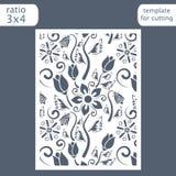Laser-Schnitthochzeitseinladungs-Kartenschablone Schneiden Sie die Papierkarte mit Blumenmuster heraus Grußkartenschablone für de lizenzfreie abbildung