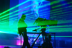 Laser show. On performance of musical group stock images