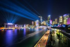 Laser Show above the Sydney Skyline. Interactive Lighting full color Laser Show at Vivid Festival 2018 in Sydney Harbour, Australia. Colorful lights illuminate Royalty Free Stock Photography