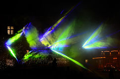 Laser show with blue green forms Stock Image