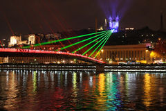 Laser show on the bridge Royalty Free Stock Photography