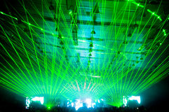 Laser show at the concert. Green rays Stock Images