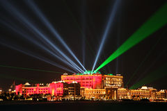 Laser show at Emirates Palace, Abu Dhabi, United Arab Emirates Royalty Free Stock Photography