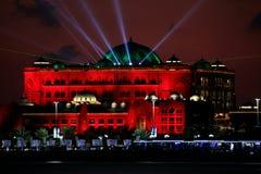 Laser show at Emirates Palace, Abu Dhabi, United Arab Emirates Royalty Free Stock Photos
