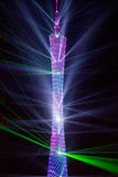 Laser show of GuangZhou Tower Stock Images