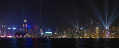 Laser show in Hong Kong Royalty Free Stock Image