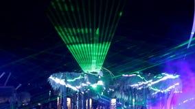 Laser-show i natthimlen stock video