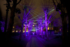 Laser show with lights at annual Amsterdam Light Festival on December 30, 2013 Royalty Free Stock Image